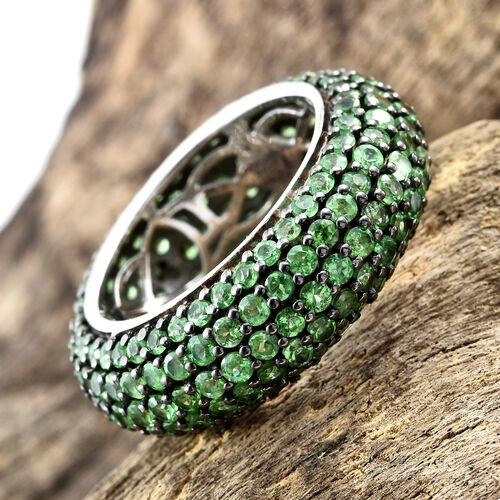 Exclusive Edition- Very Rare AAA Natural Tsavorite Garnet (Rnd) Full Eternity Ring in Black Rhodium and Platinum Overlay Sterling Silver 6.750 Ct. Silver wt 6.05 Gms. Number of Gemstone 180