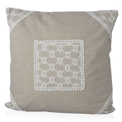 (Option 2) Beige Colour Net Patch Work Cushion (Size 43x43 Cm)