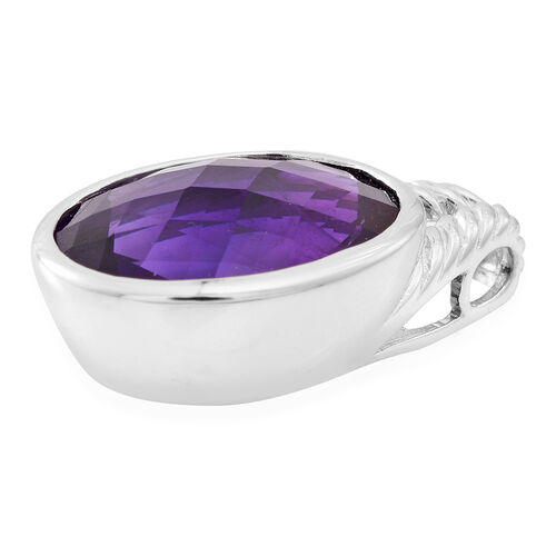 Very Rare Size Amethyst (Ovl) Pendant in Rhodium Plated Sterling Silver 15.750 Ct. Silver wt. 5.55 Gms.