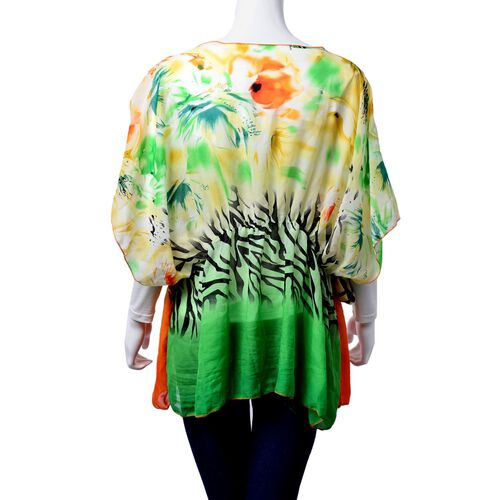 Zebra Pattern Orange, Green and Light Yellow Colour Tunic (Free Size)
