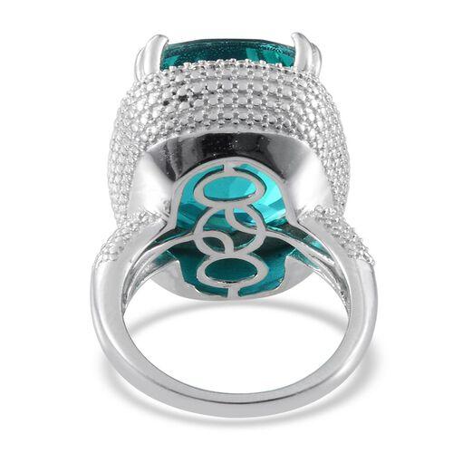 Capri Blue Quartz (Cush 21.25 Ct), Diamond Ring in Platinum Overlay Sterling Silver 21.280 Ct.