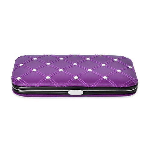 Purple Colour 5 Tools Containing Manicure Kit (Size 12X7 Cm) and Mirror (Size 14.5X7 Cm) in Stainless Steel