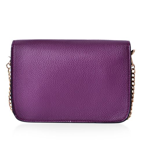 Purple Colour Crossbody Bag with Chain Strap (Size 21x14x4 Cm)