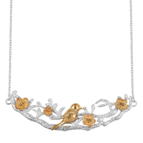 Bird on Cherry Blossom Branch Silver Necklace (Size 18 Inch), 13.65 Gms.