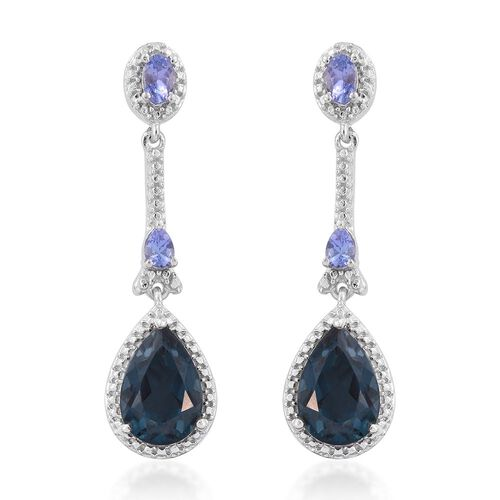 Indicolite Quartz (Pear), Tanzanite Earrings (with Push Back) in Platinum Overlay Sterling Silver 8.000 Ct.