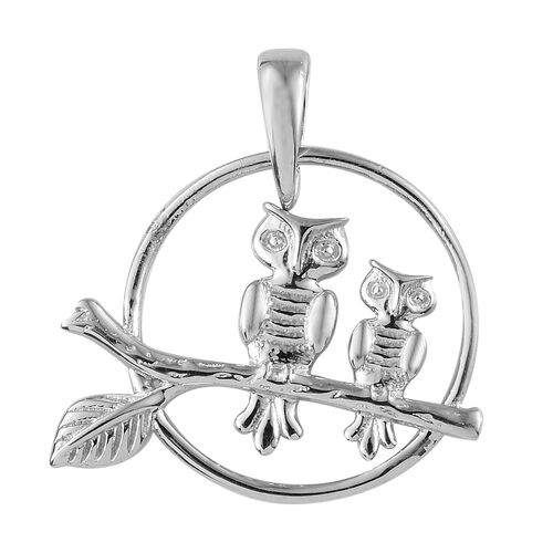Owls on Branch Silver Pendant in Platinum Overlay, Silver wt. 2.13 Gms.