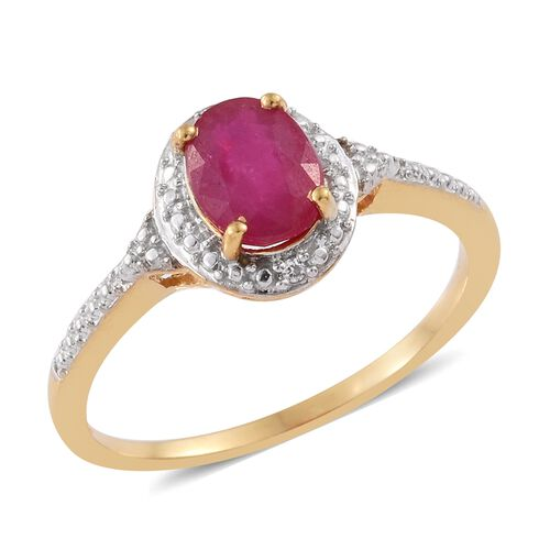 AA African Ruby (Ovl), Natural Cambodian Zircon Ring in 14K Gold Overlay Sterling Silver 1.510 Ct.