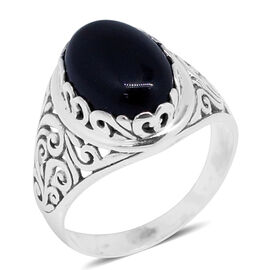 Today Only Offer-Royal Bali Collection Black Agate (Ovl) Solitaire Ring in Sterling Silver 5.050 Ct. Silver wt. 4.00 Gms.