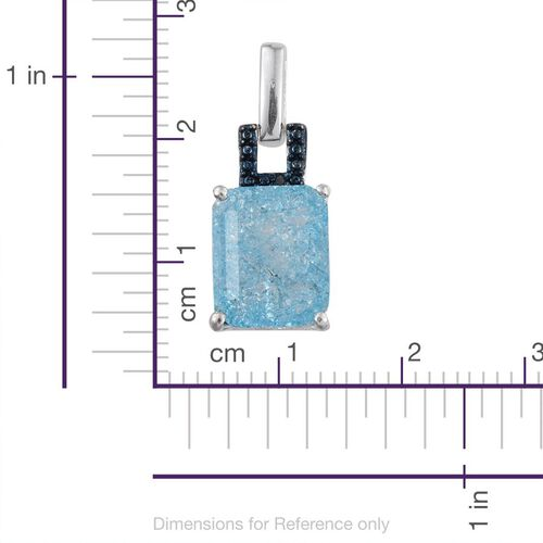 Pariaba Blue Crackled Quartz (Oct), Blue Diamond Pendant in Sterling Silver 4.010 Ct.