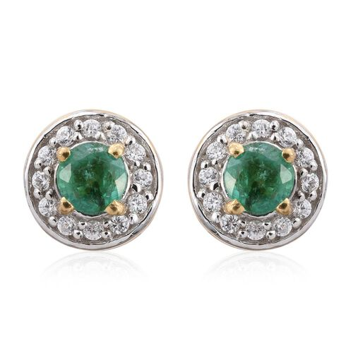 Zambian Emerald, Natural Cambodian Zircon 0.99 Ct Halo Stud Earrings in Gold Overlay