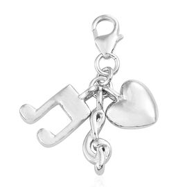 Music Symbols and Heart Charm in Platinum Plated 925 Sterling Silver