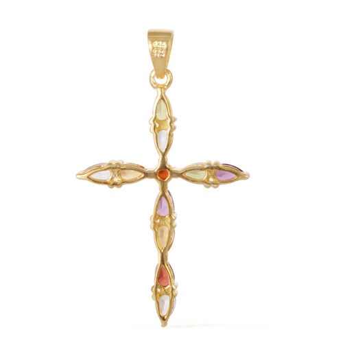 Sky Blue Topaz (Pear), Amethyst, Citrine, Hebei Peridot and Mozambique Garnet Cross Pendant in Yellow Gold Overlay Sterling Silver 2.100 Ct.