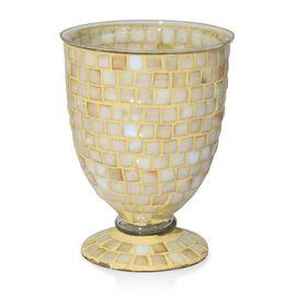 Home Decor - Golden Colour Mosaic Glass Flower Vase