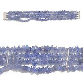 Jewels of India - Tanzanite Bracelet (Size 7.5) in Platinum Overlay Sterling Silver 82.950 Ct.