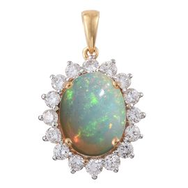 Signature Collection-ILIANA 18K Y Gold AAAA Ethiopian Welo Opal (Ovl 3.25 Ct), Diamond (SI/G-H) Pendant 4.300 Ct.