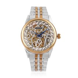 DOD - GENOA Automatic Skeleton White Cut Out Pattern Dial with White Austrian Crystal Studded Water Resistant Watch in Silver Tone with Chain Strap