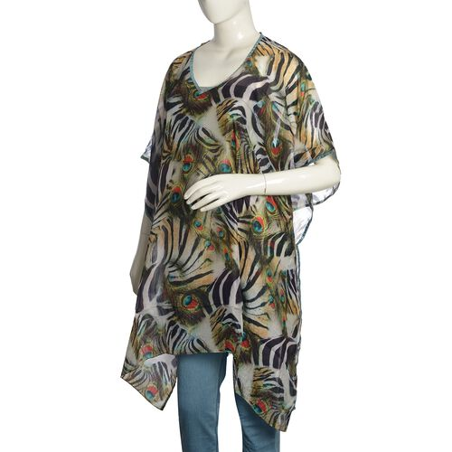 100% Mulberry Silk Black, Red and Multi Colour Peacock Feather Pattern Kaftan (Size 100x90 Cm)