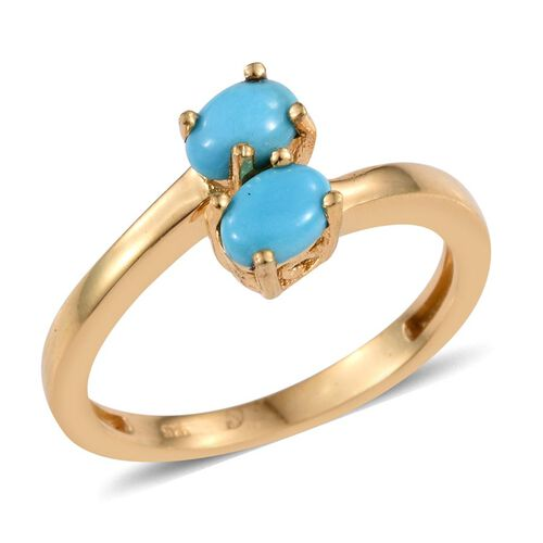 Arizona Sleeping Beauty Turquoise (Ovl) Crossover Ring in 14K Gold Overlay Sterling Silver 1.000 Ct.
