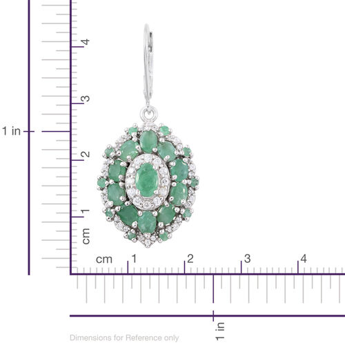 Brazilian Emerald (Ovl), Natural Cambodian Zircon Lever Back Earrings in Platinum Overlay Sterling Silver 5.000 Ct. Silver wt 6.88 Gms.
