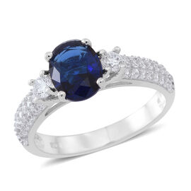 Designer Inspired- ELANZA AAA Simulated Ceylon Blue Sapphire (Ovl), Simulated White Diamond Ring in Rhodium Plated Sterling Silver