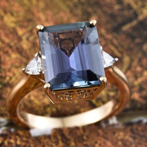 ILIANA 18K Yellow Gold Rare 5.90 Ct AAA Peacock Tanzanite Ring with Diamond SI G-H