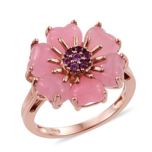 Pink Jade (Hrt), Rhodolite Garnet Floral Ring in Rose Gold Overlay Sterling Silver 6.500 Ct.