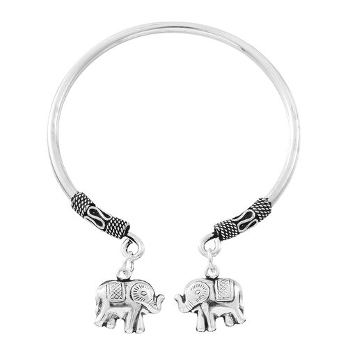 Designer Inspired- Vicenza Collection Sterling Silver Cuff Bangle (Size 6) with Elephant Charm, Silver wt. 12.22 Gms.