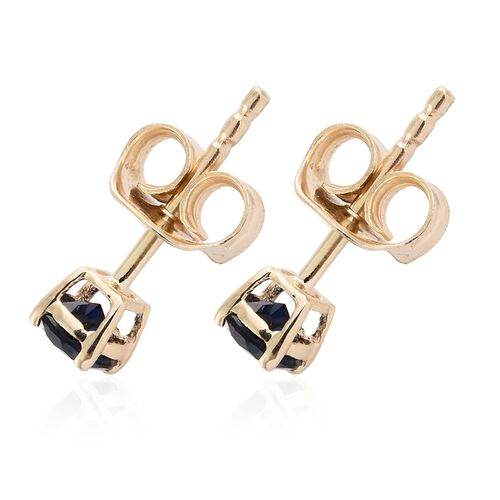 9K Yellow Gold 0.60 Carat AAA Kanchanaburi Blue Sapphire (Rnd) Stud Earrings (with Push Back)