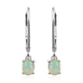 Ethiopian Welo Opal (Ovl) Lever Back Earrings in Platinum Overlay Sterling Silver