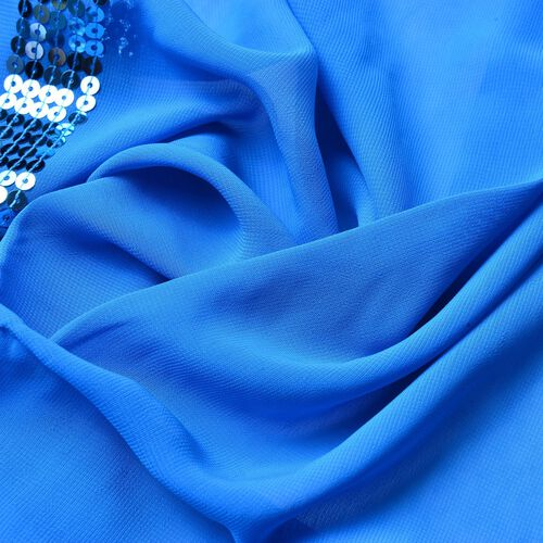 Close Out One Time Deal-Set of 2 - Blue and Off White Colour Scarves with Sequin Border (Size 170X55 Cm)