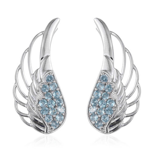 AA Natural Cambodian Blue Zircon (Rnd) Climber Earrings in Platinum Overlay Sterling Silver 3.000 Ct.