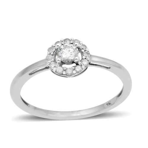 9K White Gold SGL Certified Diamond (Rnd) (I3/G-H) Ring 0.330 Ct.