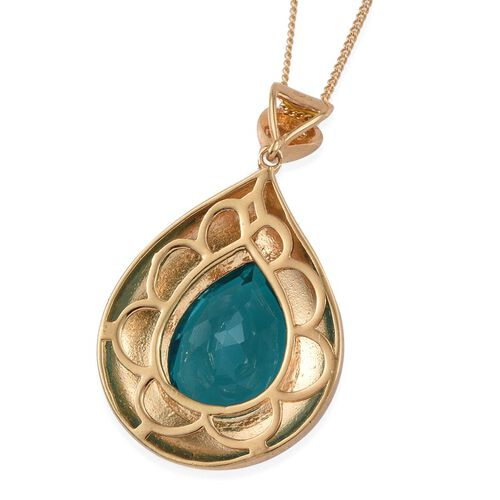 Capri Blue Quartz (Pear) Solitaire Pendant With Chain in 14K Gold Overlay Sterling Silver 9.000 Ct.