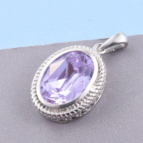 J Francis Crystal from Swarovski - Violet Crystal (Ovl) Solitaire Pendant in Platinum Overlay Sterling Silver