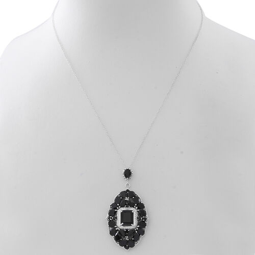 Boi Ploi Black Spinel (Oct 7.70 Ct) Pendant With Chain in Rhodium Plated Sterling Silver 25.960 Ct. Silver wt. 10.00 Gms.