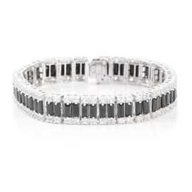 Limited Available-New York Close Out-Boi Ploi Black Spinel (Bgt), White Topaz Bracelet (Size 7) in Sterling Silver 22.500 Ct.