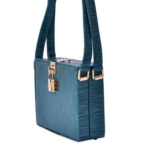 Debora Lizard Look Structured Ladylike Teal Blue Colour Bag (Size 20x14x13 Cm)