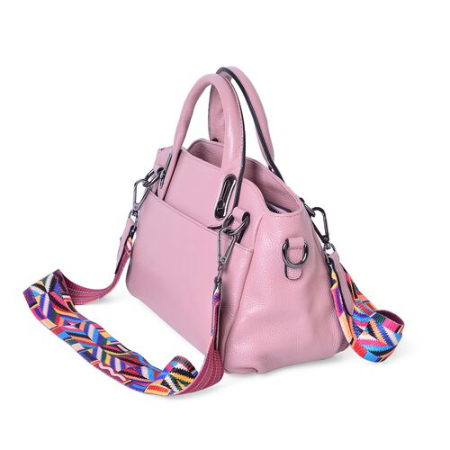 100% Genuine Leather Pink Colour Tote Bag with Multi Colour Removable Shoulder Strap (Size 32x28x12x20)