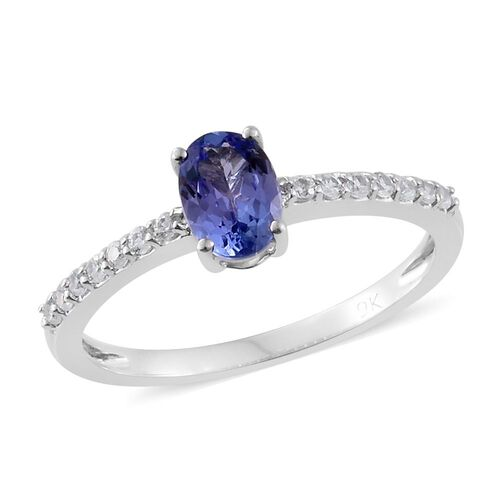 9K White Gold 1 Carat AA Tanzanite Ring with Natural Cambodian Zircon