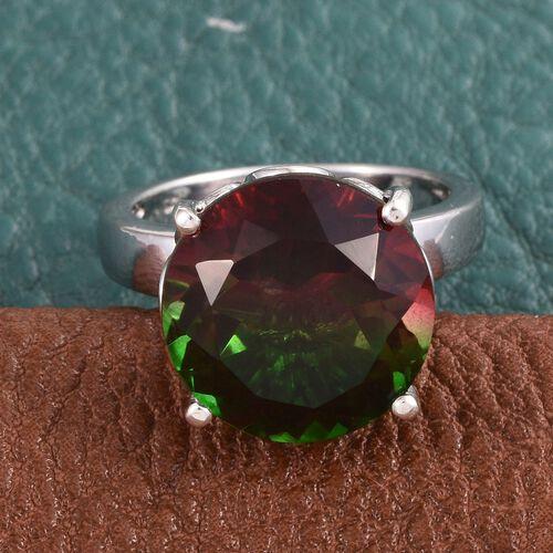 Bi-Color Tourmaline Quartz (Rnd) Ring in Platinum Overlay Sterling Silver 10.500 Ct.