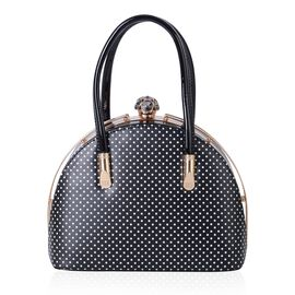 Black and White Colour Dots Pattern Tote Bag (Size 27x20x13 Cm)