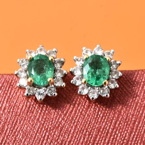 Limited Available- AAA Premium Santa Terezinha Emerald (Ovl), Natural Cambodian Zircon Stud Earrings (with Push Back) in 14K Gold Overlay Sterling Silver 1.000 Ct.