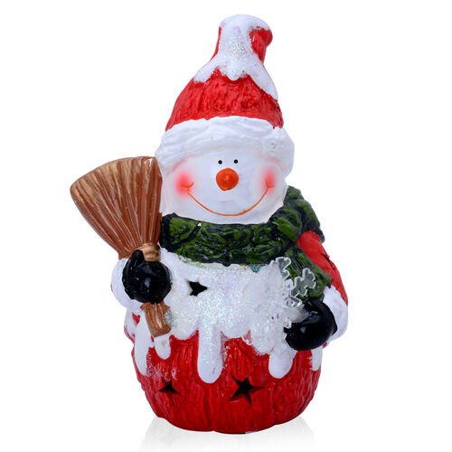 Multi Colour Ceramic Decorative Snow Man with Snowflake, Besom and LED Light