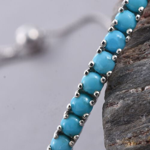 Arizona Sleeping Beauty Turquoise (Rnd) Adjustable Bracelet (Size 6.5 to 8.5) in Platinum Overlay Sterling Silver 2.000 Ct.