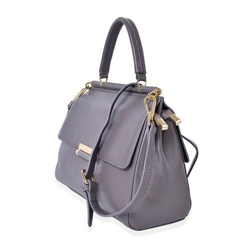 Richmond Genuine Leather Dark Grey Colour Tote Bag with Adjustable and Removable Shoulder Strap (Size 27X21.5X11.5 Cm)