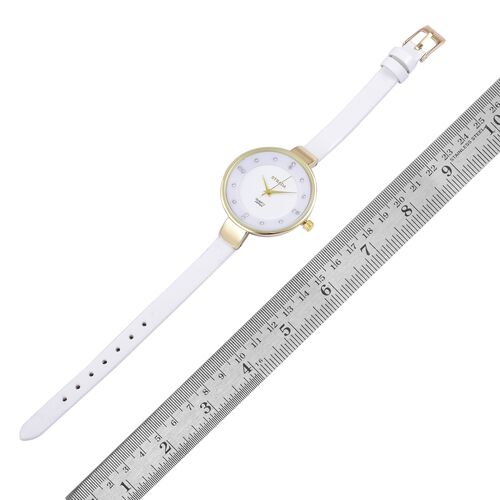 STRADA Japanese Movement White Austrian Crystal Studded White Dial Water Resistant Watch in Yellow Gold Tone with Stainless Steel Back and White Colour Strap