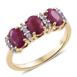 9K Yellow Gold 2 Carat AAA Burmese Ruby, Natural Cambodian Zircon Ring