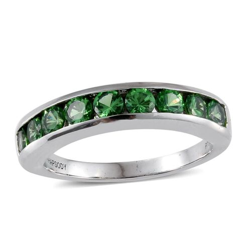 Signature Collection- RHAPSODY 950 Platinum Very Rare AAAA Natural Tsavorite Garnet (Rnd) Band Ring 1.000 Ct. Platinum Wt 5.00 Gms