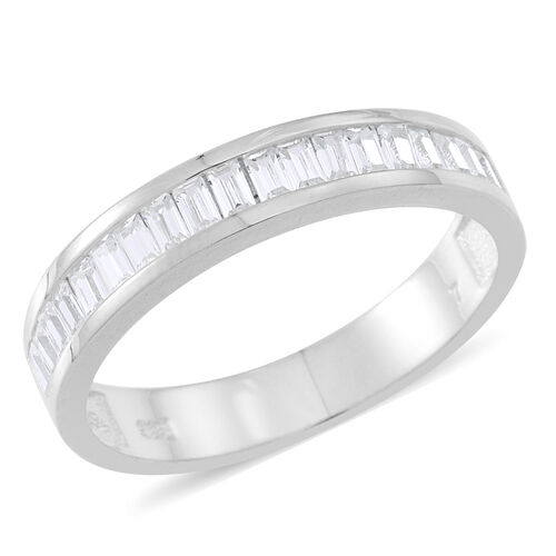 ELANZA AAA Simulated White Diamond (Bgt) Half Eternity Band Ring in Rhodium Plated Sterling Silver