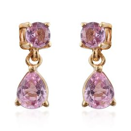 Pink Sapphire 1 Carat Silver Earrings  in Gold Overlay (with Push Back)